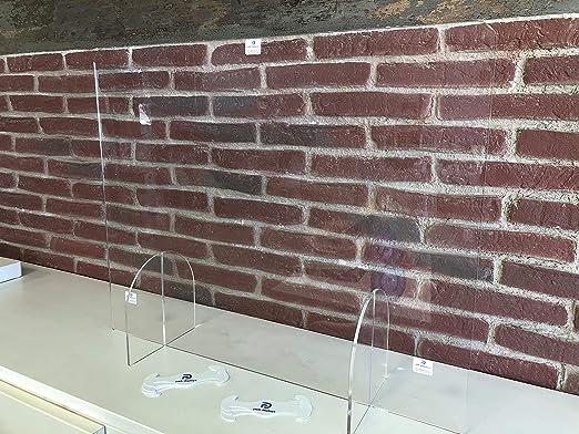Mampara de protección metacrilato 5 mm 75 x 60 cm + vinilo seguridad de REGALO. Ideal para mostradores de tiendas, farmacias, oficinas. Gran resistencia, estabilidad: Amazon.es: Oficina y papelería