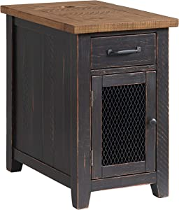 Martin Svensson Home Rustic Chairside Table, Antique Black and Honey