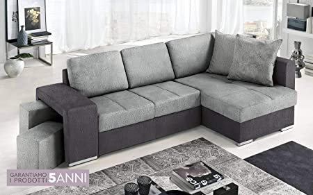 Divano Letto Angolare 2 Posti.Dafne Italian Design Divano Letto Angolare 2 Posti Con Penisola A