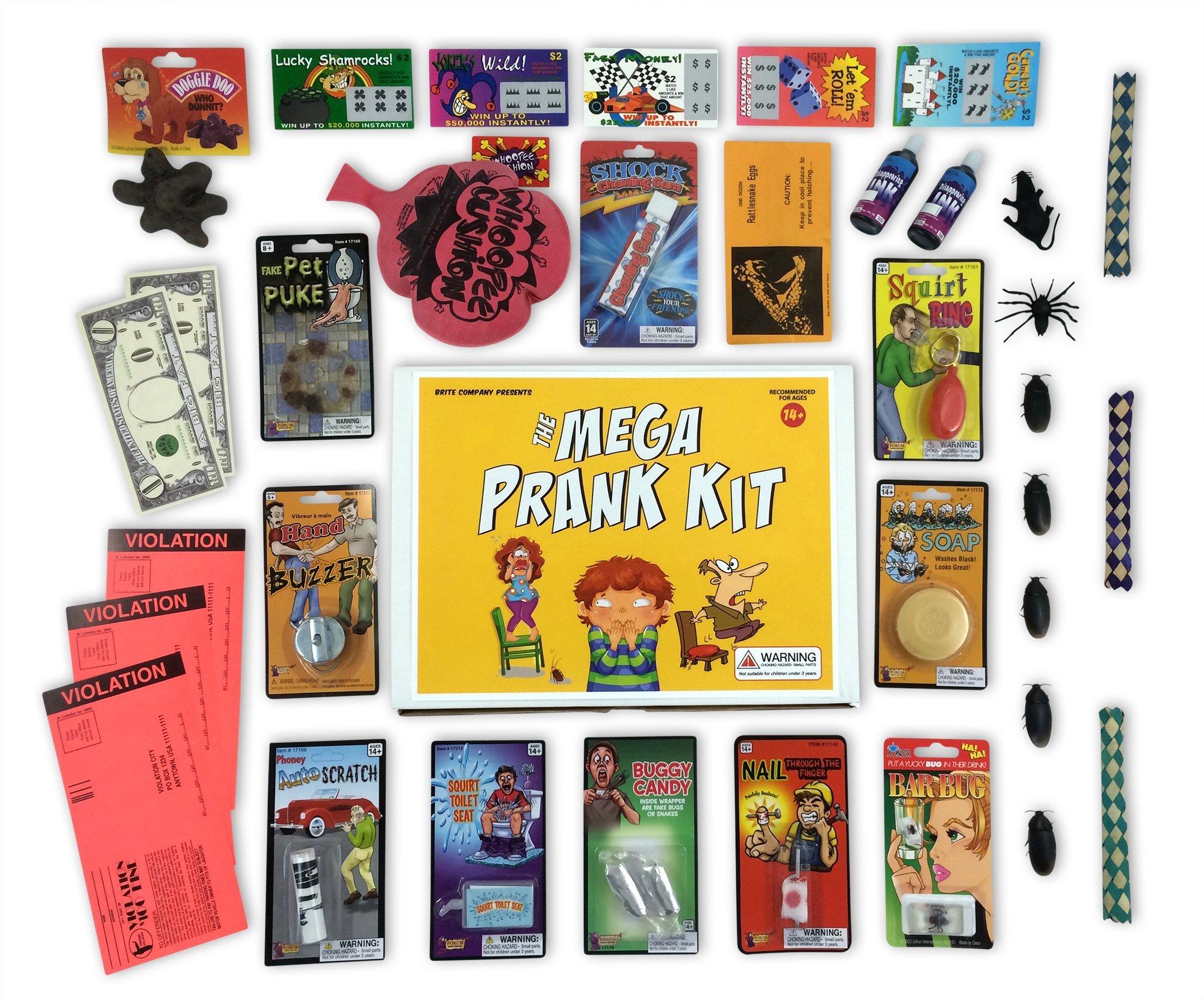 The Mega Prank Kit - 35 Funny Pranks and Jokes in a Gift Box by Brite Co Pranks