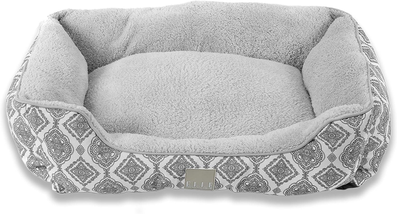 Home Dynamix Elle Decor Comfy Pooch Pet Bed, 20x28 Cuddler, Gray Medallions