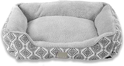Home Dynamix Elle Decor Comfy Pooch Pet Bed, 20×28 Cuddler, Gray Medallions