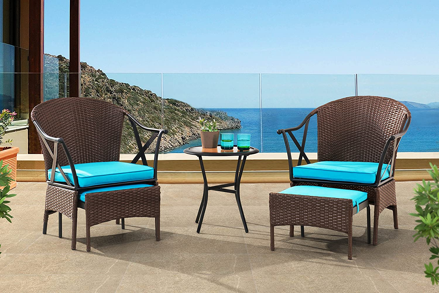 Sunjoy S-DN2096SST 5 Piece Wicker Seating Set