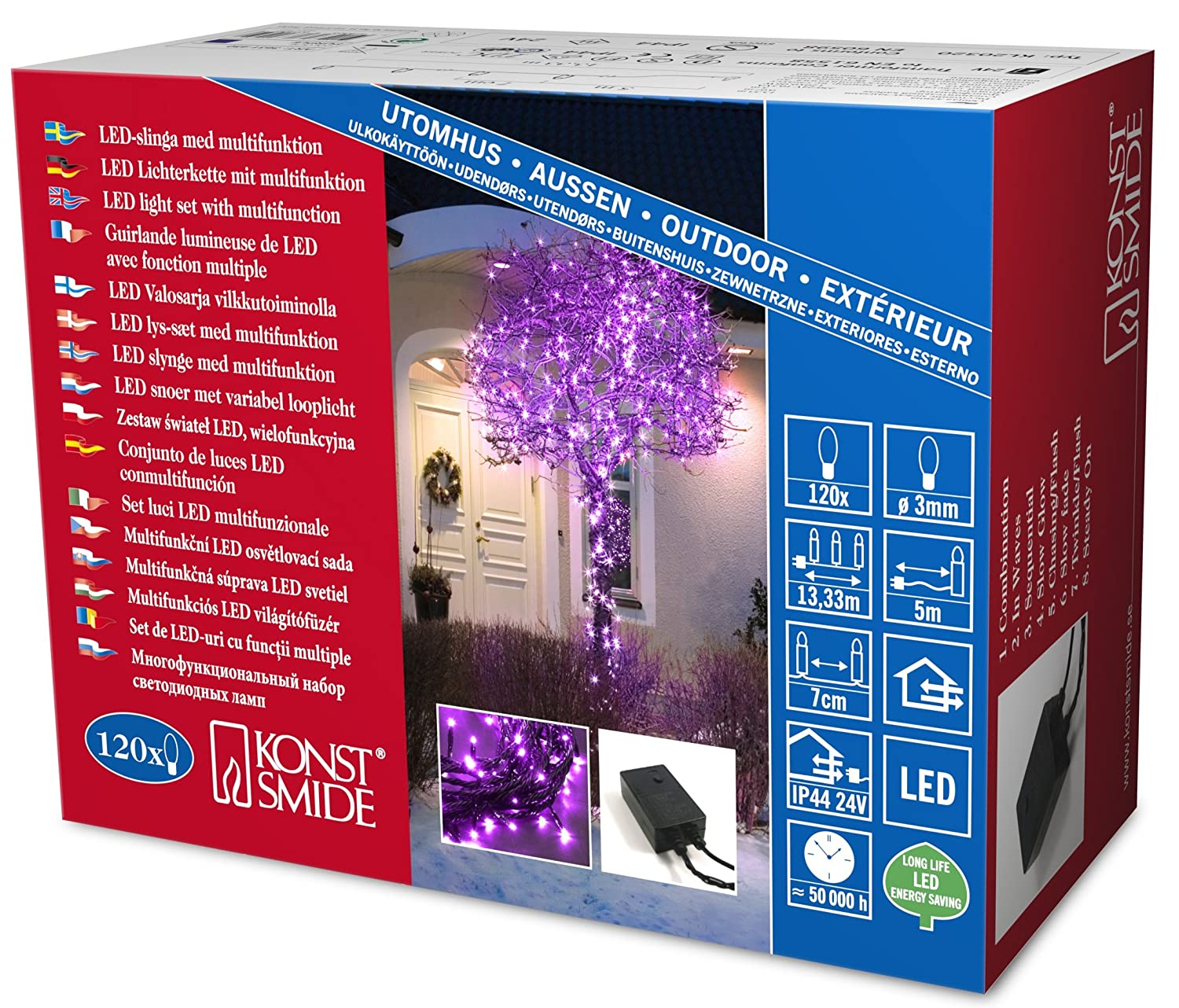 Konstsmide 5m Length Of 80 Red Multi Function Outdoor Micro LED Fairy Lights. Black Cable.