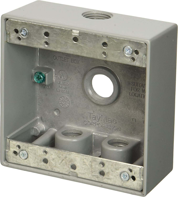 TayMac DB350WH 4-1//2-Inch X 4-1//2-Inch Gang 2-Inch Deep Weatherproof Box 1//2...