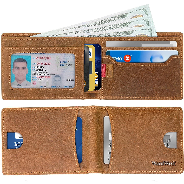 Billfolds Wallets for Men Slim Genuine Leather Thin Front Pocket RFID Blocking Brown