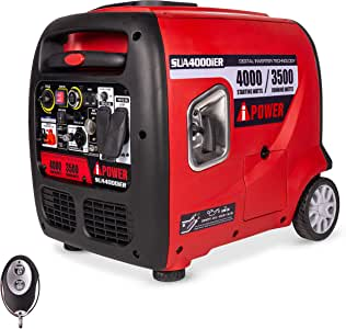 A-iPower SUA4000iER 4000 Watt Portable Inverter Generator Quiet Operation With Electric/Remote Start, RV Ready