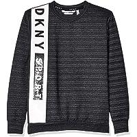 DKNY Boys' Big French Terry Pop Over Sweatshirt