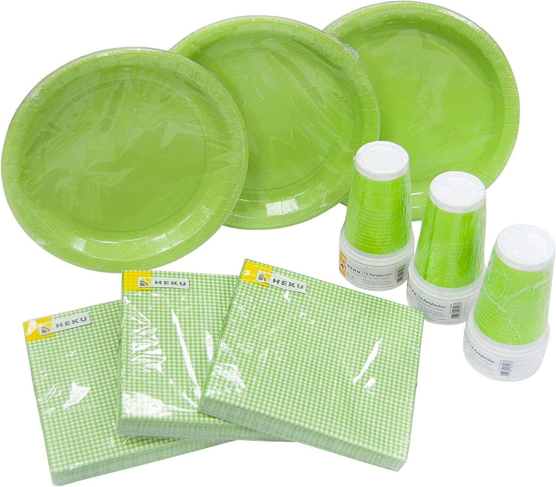 Heku 30005- Juego de vajilla desechable con Platos, Vasos y servilletas, 120Piezas, plástico, Verde, 40x29x7 cm
