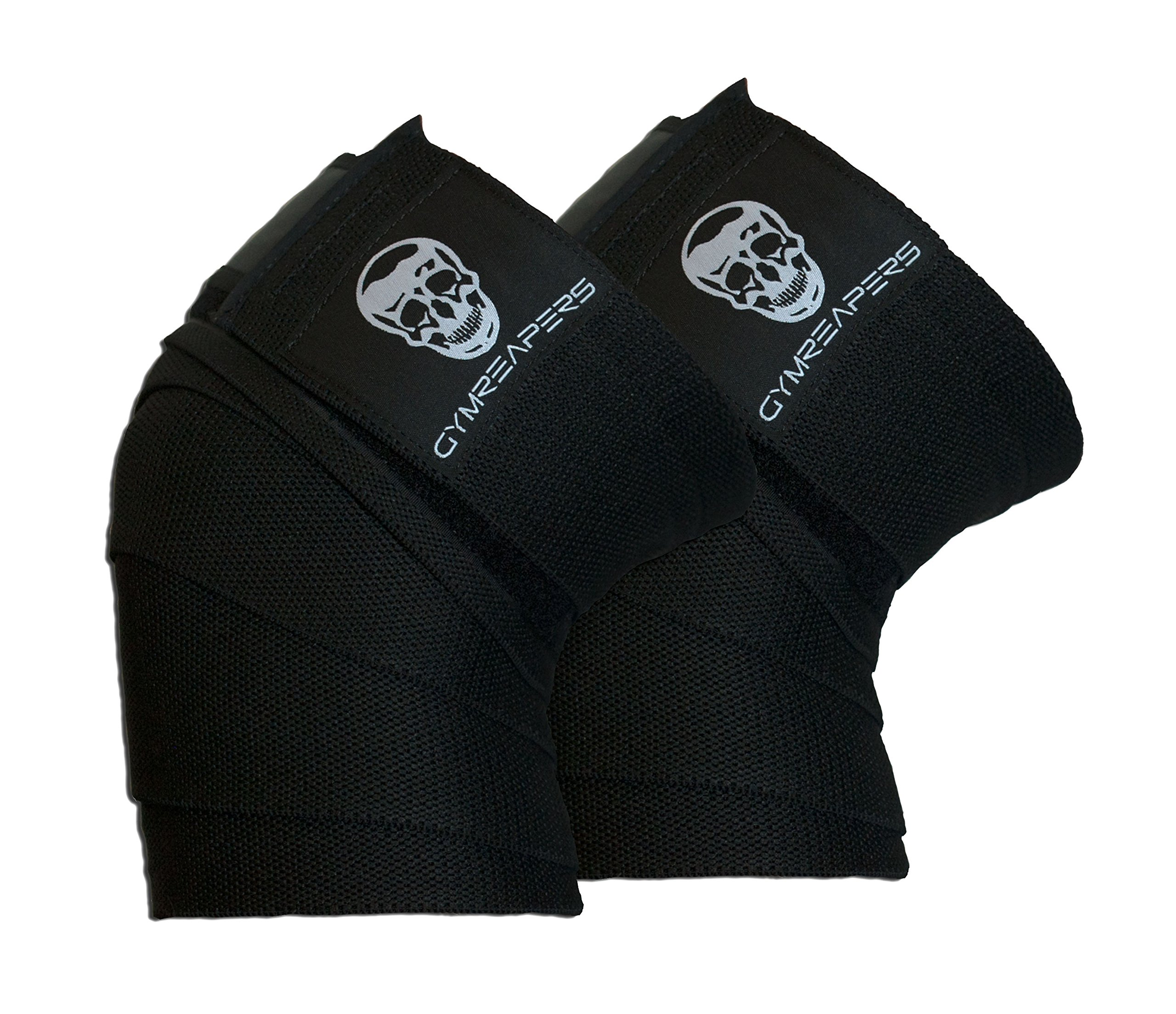 Gymreapers Knee Wraps (Pair) with Strap for Squats, Weightlifting, Powerlifting, Leg Press, and Cross Training - Flexible 72'' Knee Wraps for Squatting - for Men & Women - 1 Year Warranty (Black)