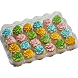 5-24 Compartment Clear High Dome Cupcake Containers Boxes with baking cup liners - Great for high topping - 5 boxes 24 slot each - Plus White standard size baking cups