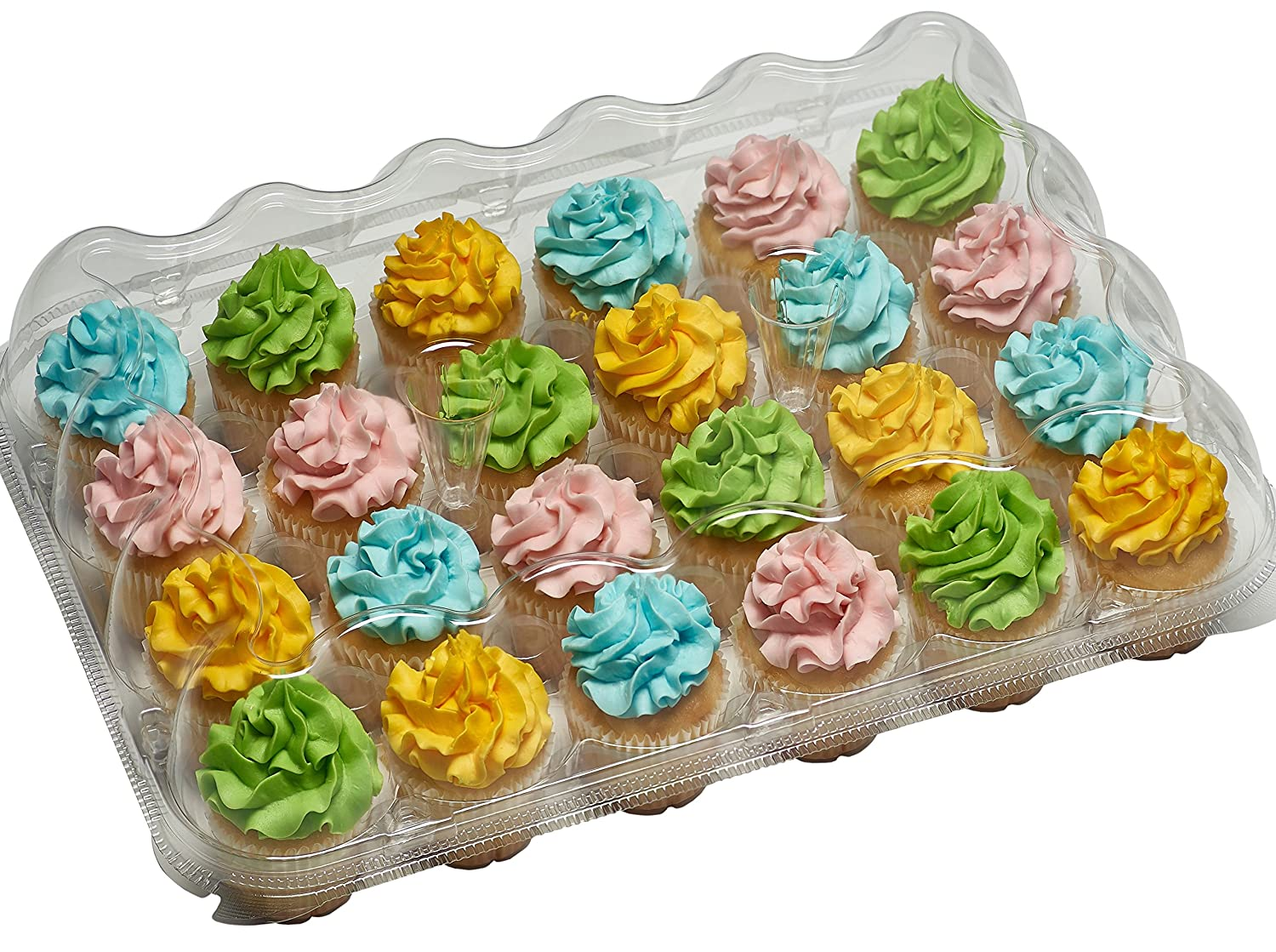 5-24 Compartment Clear High Dome Cupcake Containers Boxes with baking cup liners - Great for high topping - 5 boxes 24 slot each - Plus White standard size baking cups COMIN18JU055667