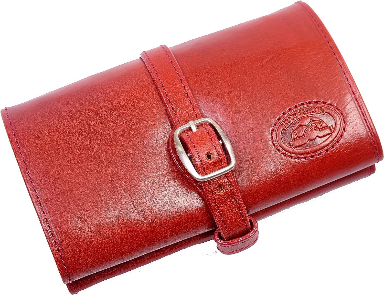 Tony Perotti Womens Italian Bull Leather Compact Jewelry Roll Travel Organizer