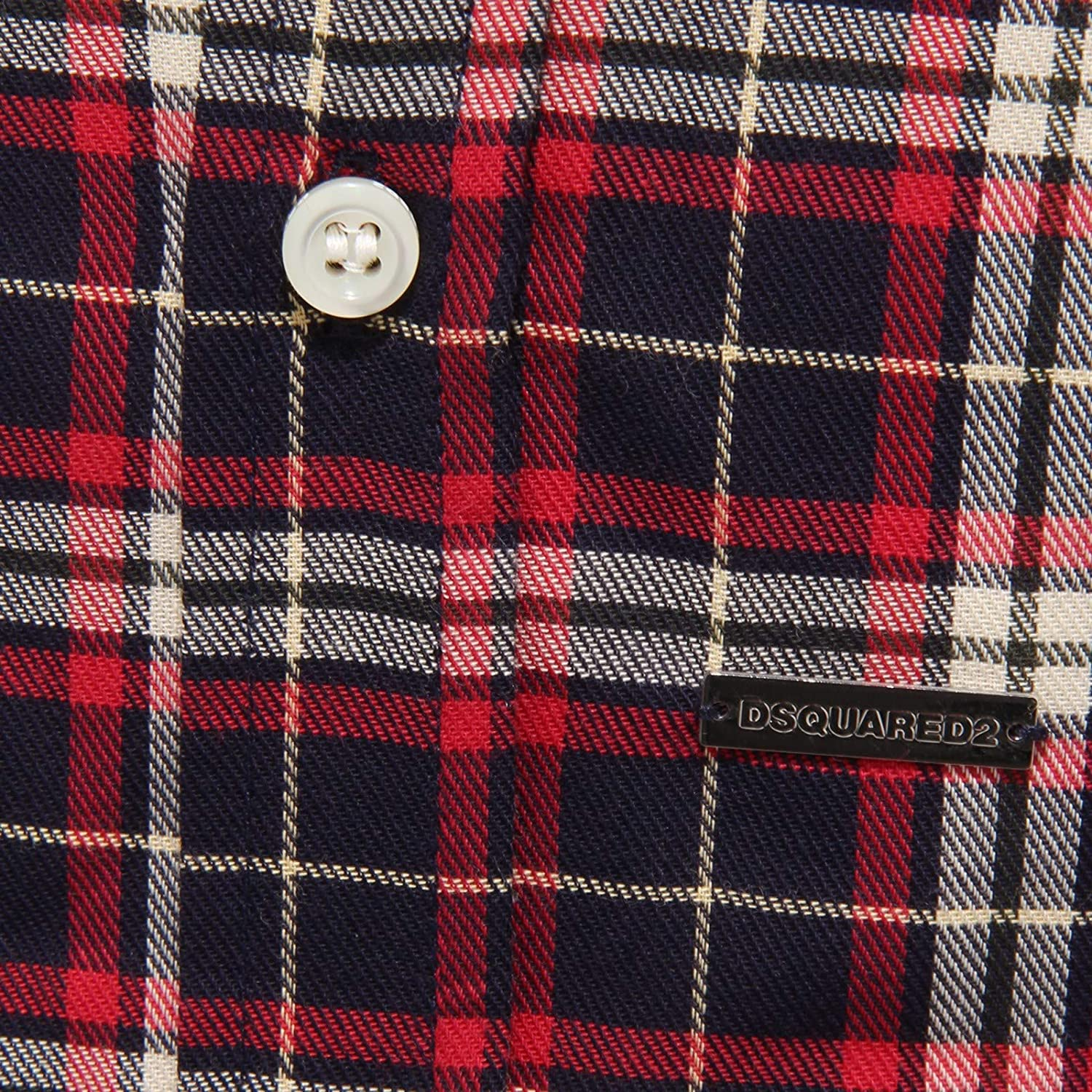 DSQUARED2 7543Y Camicia Bimbo Boy Cotton Red//Blue//White Shirt Long Sleeve