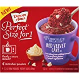Duncan Hines Perfect Size for 1 Mug Cake Mix, Ready in About a Minute, Red Velvet Cake, 4 Individual Pouches