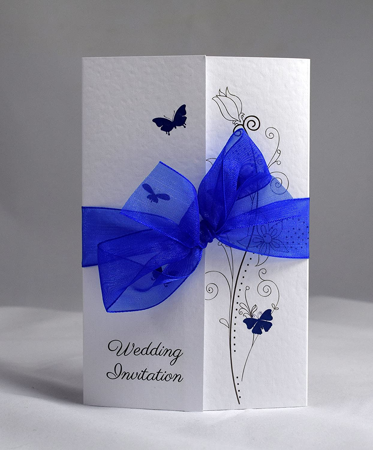 Butterfly Gatefold Wedding Invitations Personalisesd With Ribbon Colour    Royal Blue Organza (Packs Of 10): Amazon.co.uk: Office Products