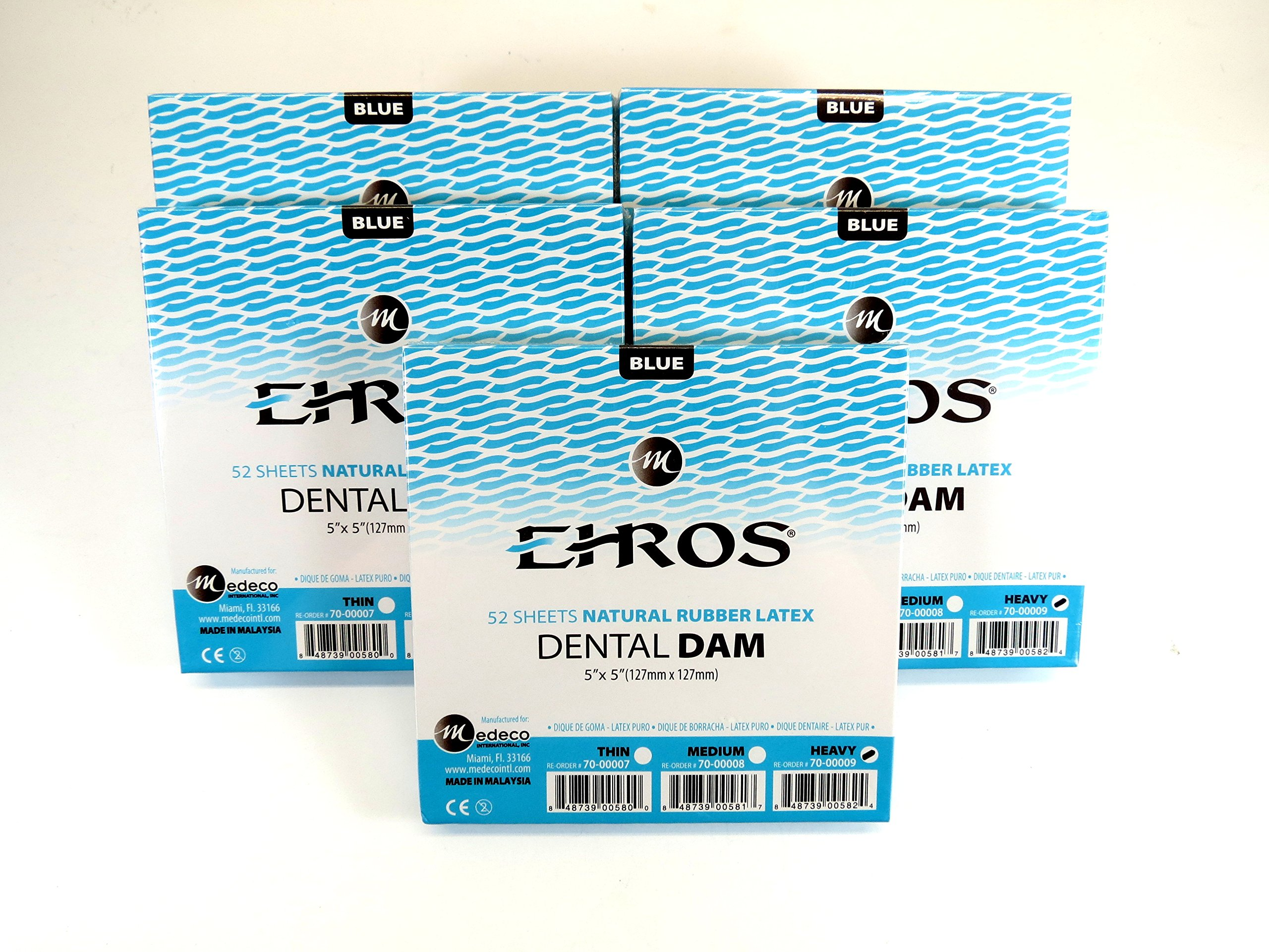 Rubber Dental Dam 5''x 5'' Heavy Blue Kit / 5 Box Latex 52 Sheets Dique De Goma Natural EHROS
