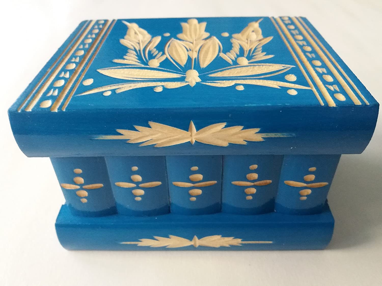 Nueva azul hermosa caja mágica, misteriosa caja, caja puzzle , caja secreta, hecha a mano, casilla complicado, caja de madera tallada, regalo perfecto, juguete de madera: Amazon.es: Handmade