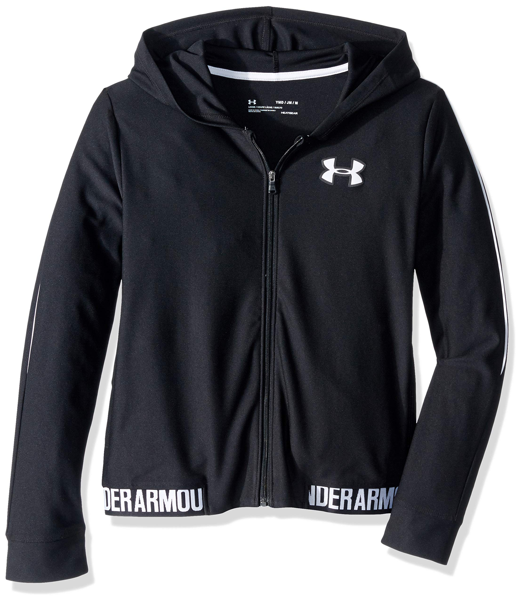 Under Armour Girls' Play Up Full Zip-Up Jacket, Black//White, Youth Small by Under Armour