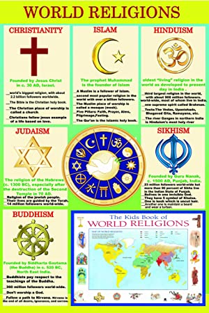 Laminated WORLD RELIGIONS Major Religious Groups Educational - World religions for kids