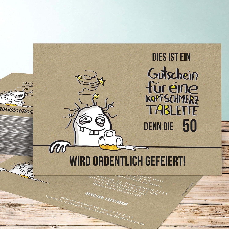 Einladungen 50 Geburtstag, Hangover 50 10 Karten, Horizontal Einfach  148x105 Inkl. Weiße Umschläge, Braun: Amazon.de: Küche U0026 Haushalt