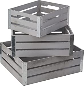 Set of 3 Rustic wooden Decorative Nesting Storage Crates with Galvanized Metal corners and open handle Wood Crafted Boxes, Wooden Basket Centerpieces for Home(White Gray )