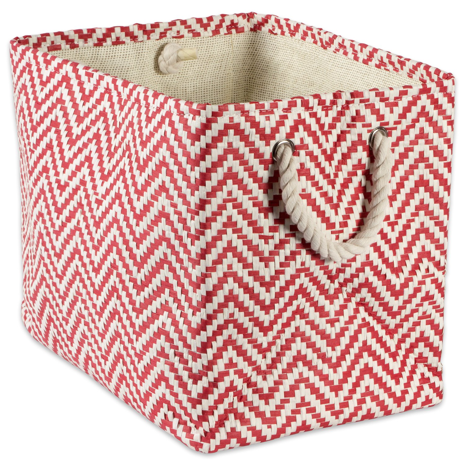 """DII Woven Paper Storage Basket or Bin, Collapsible & Convenient Home Organization Solution for Office, Bedroom, Closet, Toys, & Laundry (Medium – 15x10x12""""), Rust Chevron"""
