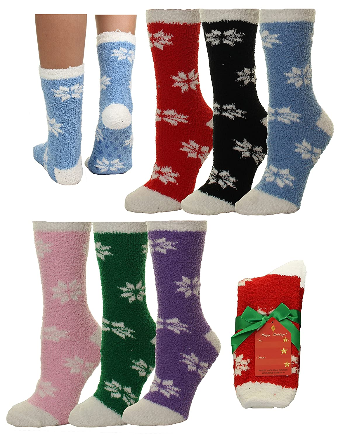 Gilbin 6 Pack Super Soft Toasty Fuzzy Snowflake Holiday Socks, Anti Grip Socks, Size 9-11