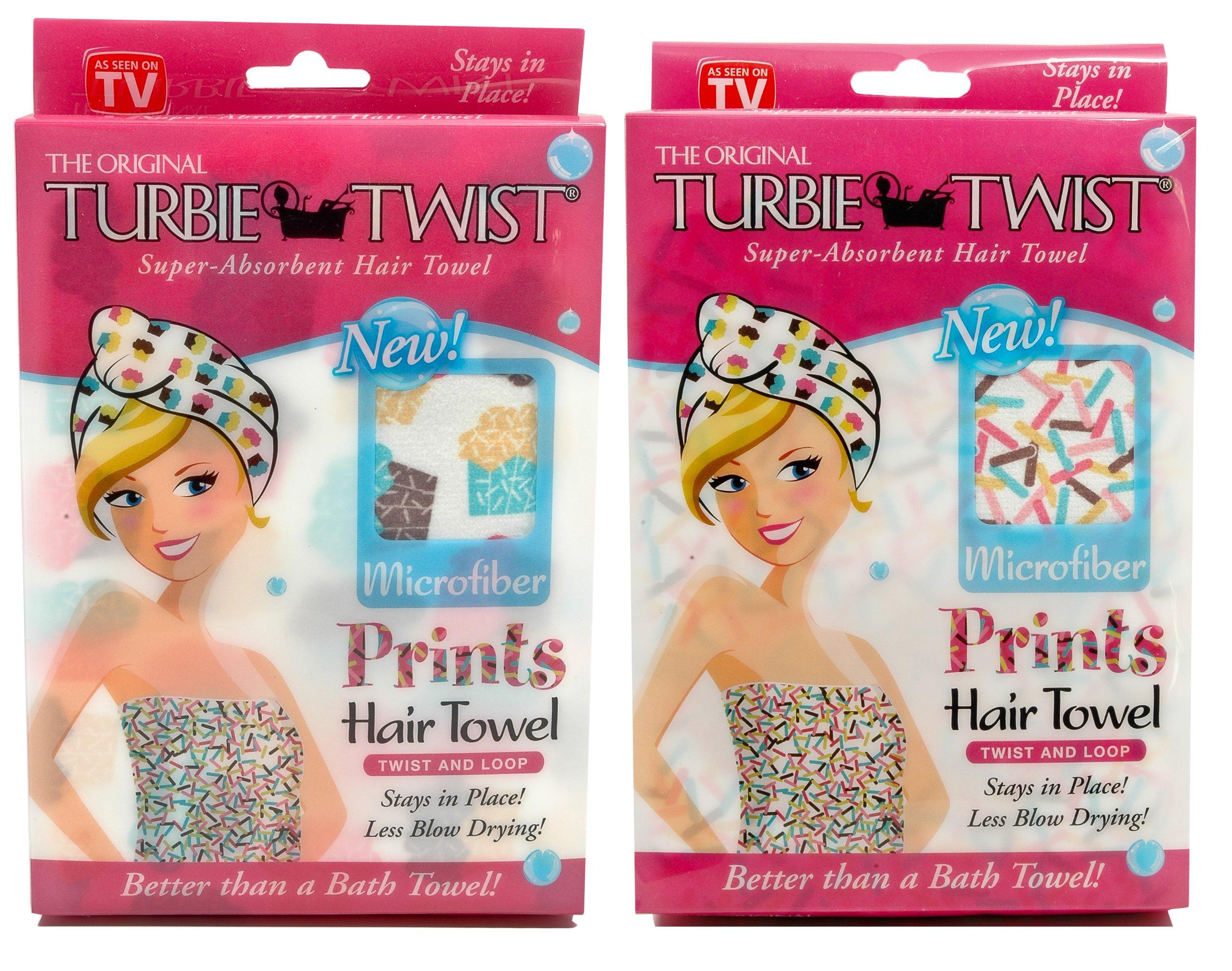 Original Turbie Twist Super Absorbent Hair Towel Microfiber Prints Embroidered 3