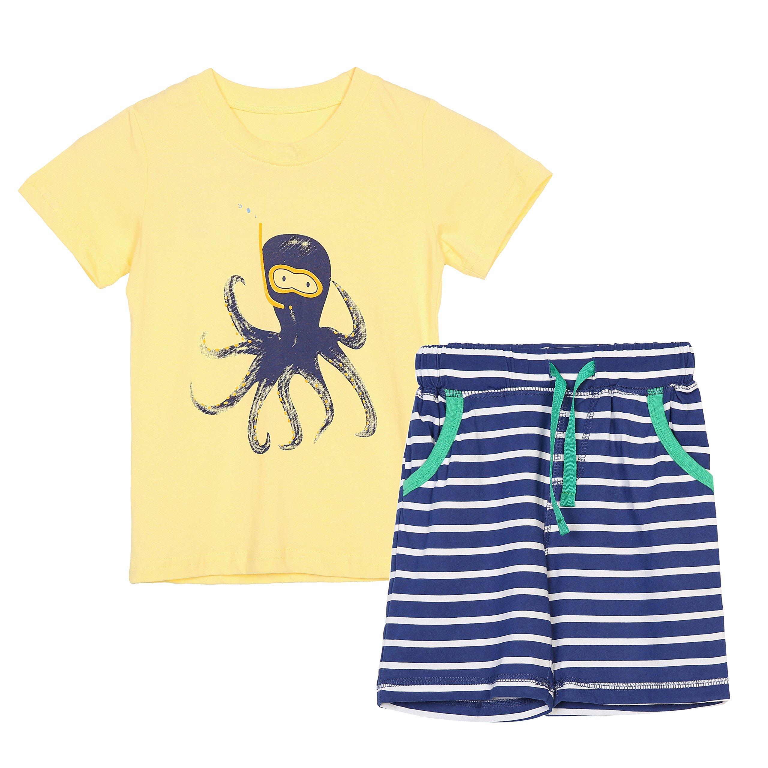 HowJoJo Boys Summer Cotton Short Sets Short Sleeve Graphic Print T-Shirts + Striped Shorts Yellow 3T