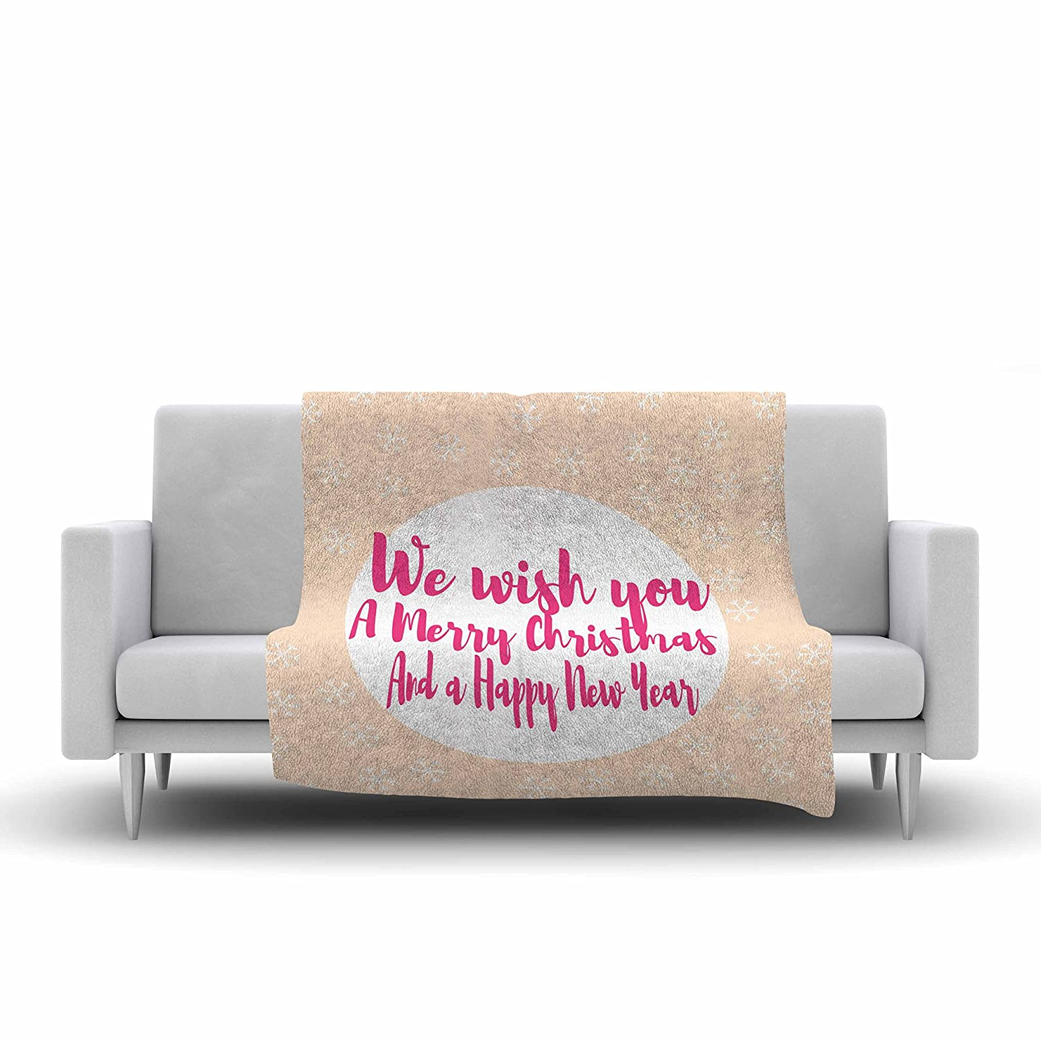 60 by 50-Inch Kess InHouse Suzanne Carter Merry Chistmas /& Happy New Year Peach Pink Fleece Throw Blanket 60 X 50