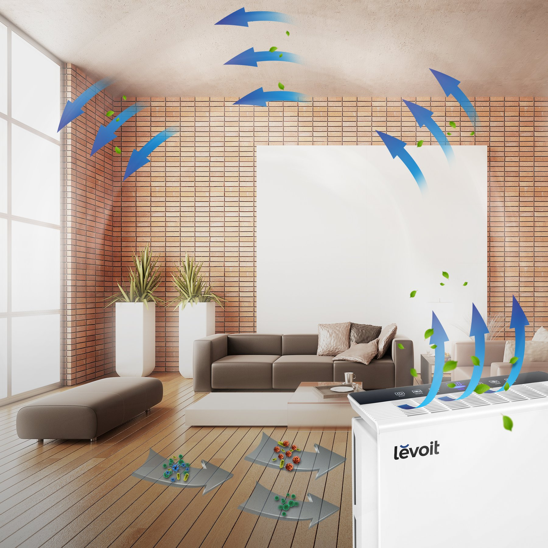 Levoit LV-PUR131 Air Purifier with True HEPA Filter, Odor Allergies Eliminator, Air Cleaner for Large Room, Dust, Smoke, Mold, Pets, Smokers, Home, Auto Air Quality Monitor, 322 sq. ft, US-120V by LEVOIT (Image #7)