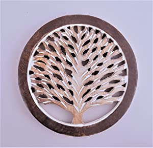 Gifts For Women Wooden Trivets For Hot Pots and Pans Tea Pot Holders Hot Pads Tree of Life Design Modern Farmhouse Kitchen Counter Decor Dia 8'' Inch - Set of 2 (Dual Tone)