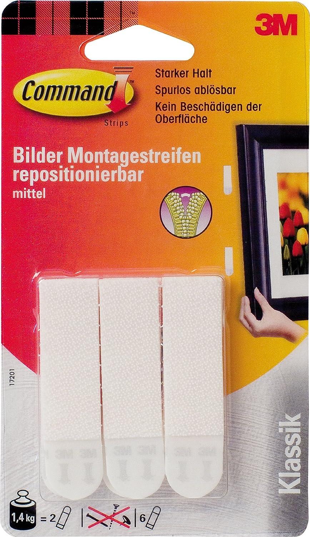 3M Lot de 6 bandes adhésives moyennes à fixation forte pour cadre photo (2 bandes : 1, 4 kg) (Import Allemagne) 17201 Bande adhésive