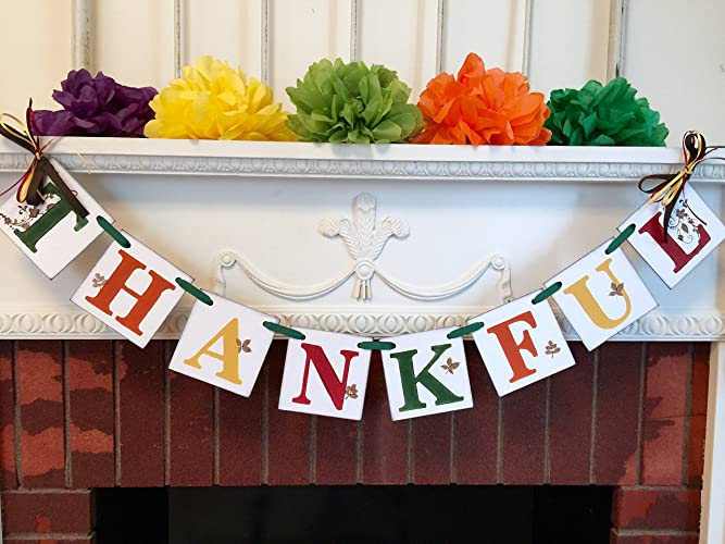 Thanksgiving Banner Part - 20: Thanksgiving Decorations - Thanksgiving Banner - Fall Decorations - THANKFUL  Banner - Fall Mantle Garland -
