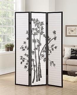 Roundhill Furniture 3 Panel Oriental Shoji Room Divider Screen, Black