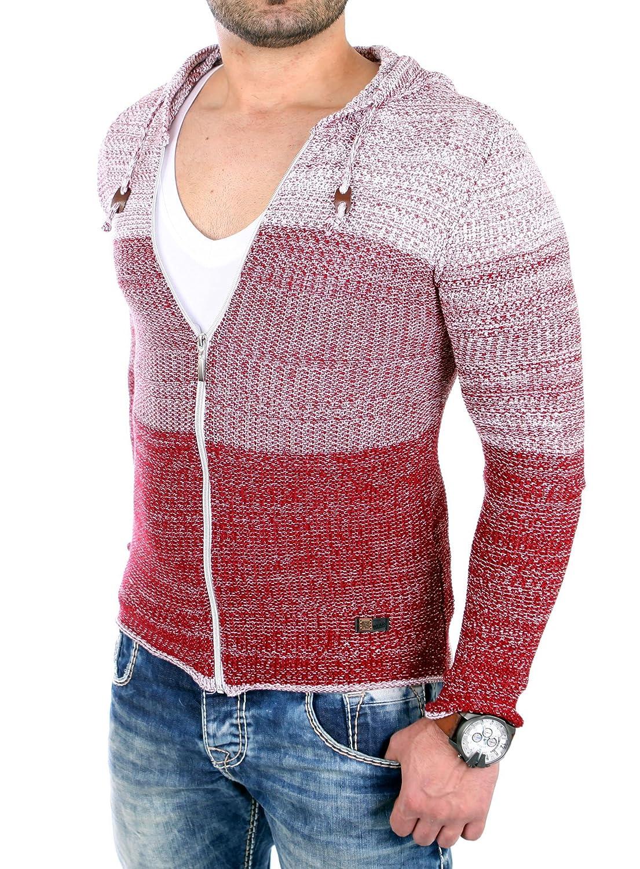 Reslad Strickjacke Herren Color-Block Kapuzen-Pullover Cardigan Jacke RS-3107