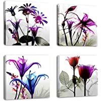 Natural Art ? 4 Panels Huge Modern Giclee Prints Artwork Multi Flowers Pictures Photo Paintings Print on Canvas Wall Art for Home Walls Decor Stretched and Framed Ready to Hang (12×12in×4pcs)