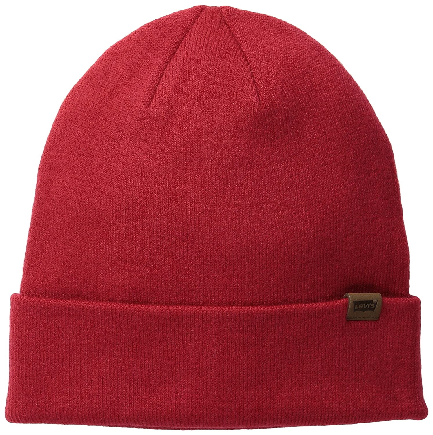 4d06e5a76dbe4 Levi s Mens Core Flat Turn Up Beanie Hat Red One Size  Amazon.co.uk   Clothing