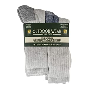 HOT FEET Mens Active Work and Outdoors Socks, Fully Cushioned, Thermal Wool Blend, 4 Pack Warm Reinforced Heel and Toe