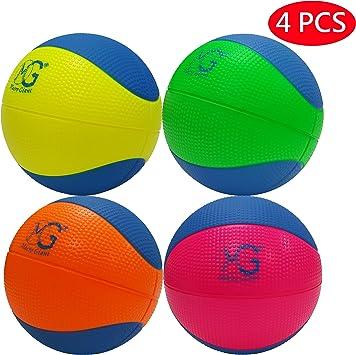 Macro Giant - Juego de 4 balones de baloncesto de espuma suave de 15,2 cm de diámetro, varios colores, para principiantes, práctica de entrenamiento, Neon Red + Neon Orange + Neon Yellow +