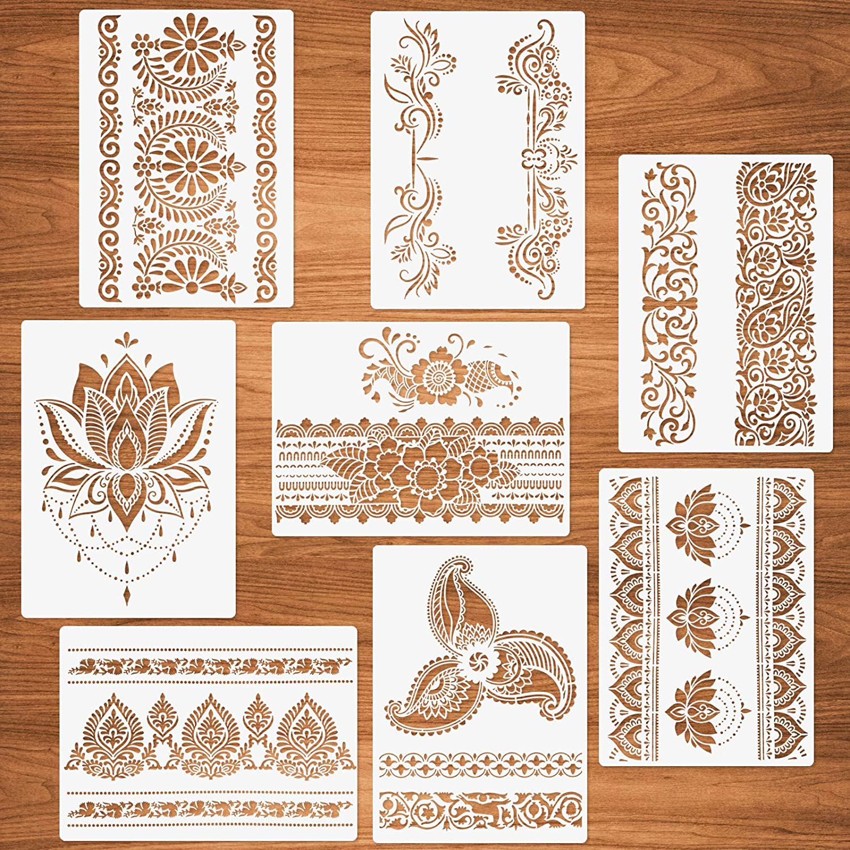 Flower Border Stencils, 8 Pcs Mandala Stencils for Painting on Wood Canvas Paper Wall Mandala Border Reusable DIY Craft Stencils 8.3