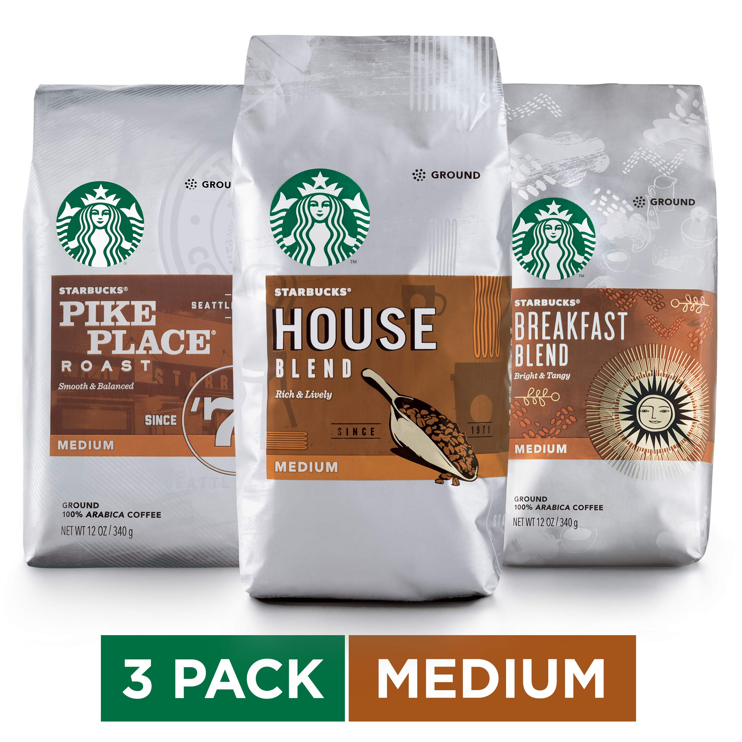 Starbucks Medium Roast Ground Coffee Variety Pack, Three 12-oz. Bags by Starbucks