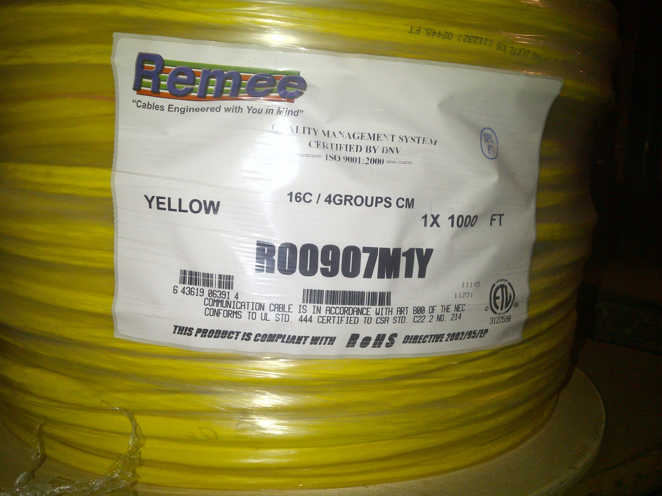 REMEE R00907M 16-CONDUCTOR SHLD COMPOSITE CARD ACCESS CONTROL CABLE PVC 1000 FEET