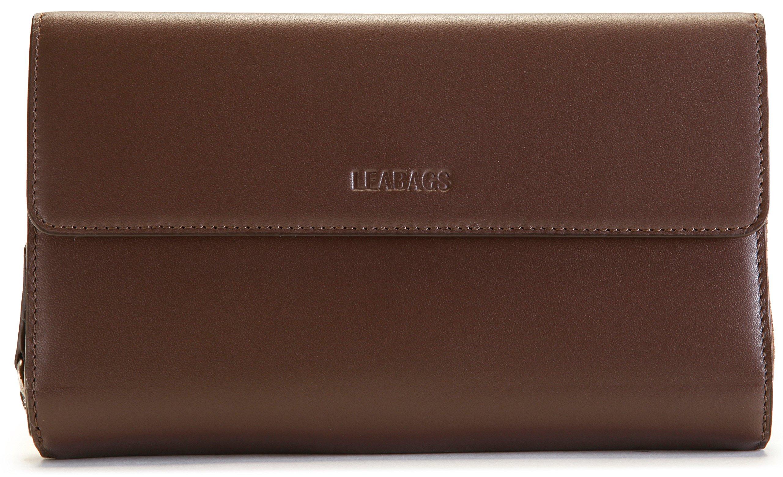 LEABAGS Joplin genuine calfskin leather women's wallet in vintage style - Brown