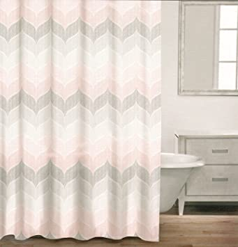 Amazoncom Caro Home  Cotton Shower Curtain Wide Stripes - Pale pink shower curtain
