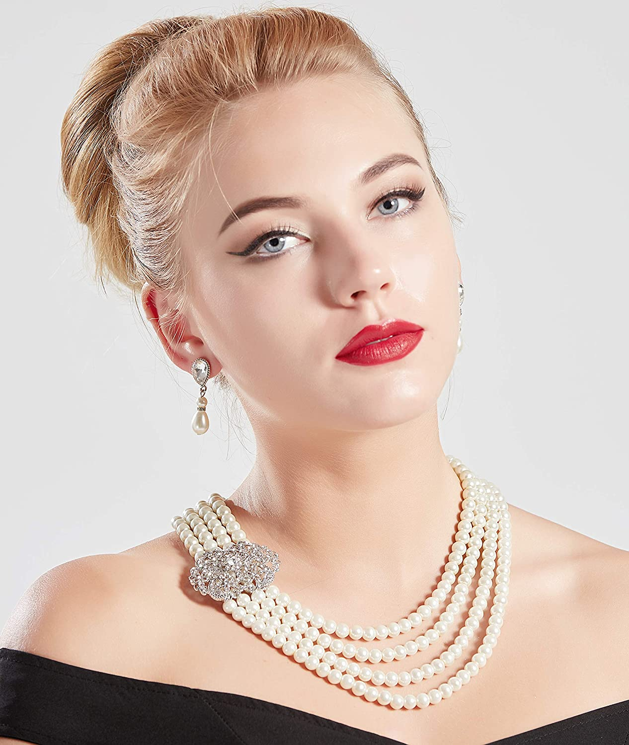 1920s Accessories | Great Gatsby Accessories Guide BABEYOND 1920s Gatsby Pearl Necklace Vintage Bridal Pearl Necklace Earrings Jewelry Set Multilayer Imitation Pearl Necklace with Brooch $19.99 AT vintagedancer.com