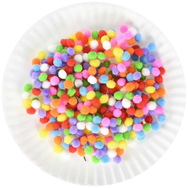 Delight eShop 100pcs DIY Crafts Mixed Colourful Mini Fluffy Pom poms Ball Felt Decoration