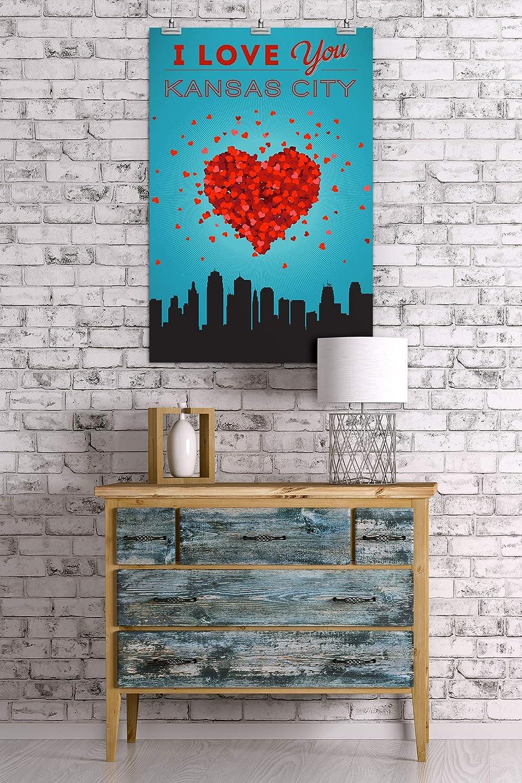 I Love You Kansas City Kansas 24x36 Giclee Gallery Print, Wall Decor Travel Poster