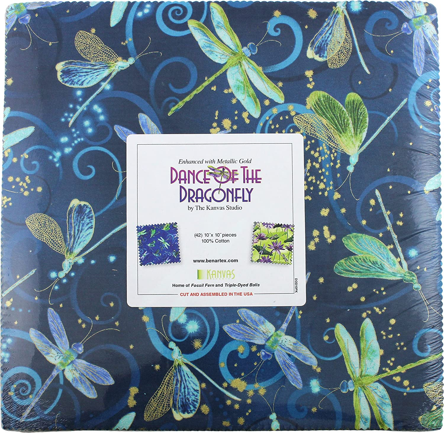 Benartex DANCE OF THE DRAGONFLY 10-inch Precut Squares Cotton Fabric Quilting Assortment Layer Cake DOD10PK